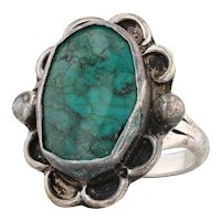 Chimney Butte Turquoise Ring Sterling Silver Size 6.75 Native American Navajo