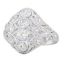 0.90ctw Vintage Diamond Ring 18k White Gold Size 6.5 Pave Openwork