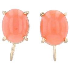 Light Orange Coral Earrings 14k Yellow Gold Non Pierced Screw Back