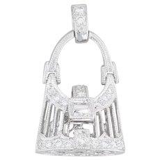 Diamond Purse Charm 18k White Gold Hand Bag Pendant Opens
