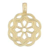 Slane and Slane Fenestra Enhancer Pendant 750 18k Yellow Gold Woven Flower Drop