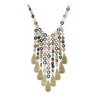 "Mallary Marks Multi Color Quartz Briolette Fringe Bead Necklace 18k Gold 18.5"""