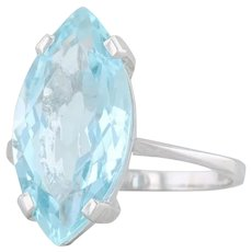 Vintage 6.3ct Aquamarine Ring 18k White Gold Size 6.5 Marquise Solitaire French