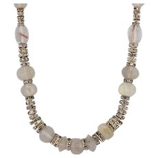 "Erickson Beamon Rutilated Quartz Bead Necklace 24.5"" Statement Strand Glass"