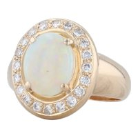 Opal Diamond Halo Ring 14k Yellow Gold Size 5.5 Oval Solitaire