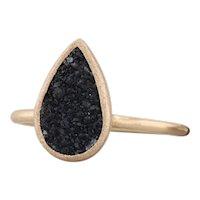 New Nina Nguyen Ring Black Druzy Quartz Adorn Petite 18k Gold Size 7 Solitaire
