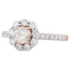 New Michael Christoff 1.05ctw Diamond Halo Engagement Ring 18k Gold Size 6.5