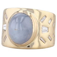 Gray Blue Natural Star Sapphire Diamond Ring 18k Yellow Gold Size 6 Statement