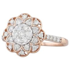 New 0.50ctw Diamond Flower Ring 10k Rose Gold Size 7 Cluster Cocktail