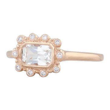 New Beverley K 0.83ctw Sapphire Diamond Halo Ring 18k Rose Gold Size 6.75