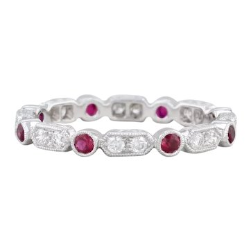 New Beverley K Ruby Diamond Ring 18k White Gold Size 6 Stackable Eternity Band