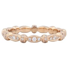 New Beverley K 0.25ctw Diamond Eternity Ring 18k Rose Gold Stackable Band Sz 6.5