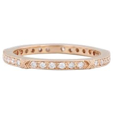 New Beverley K 0.22ctw Diamond Eternity Ring 18k Rose Gold Stackable Band Sz 6.5