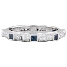 New Beverley K Diamond Sapphire Eternity Ring 18k White Gold Stackable Band 6.5