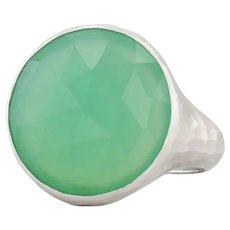 New Nina Nguyen Green Chrysoprase Ring Balance Sterling Silver Hammered Size 7