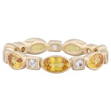 New Beverley K 2.22ctw Yellow Sapphire Stackable Ring 14k Gold Eternity Band 6.5