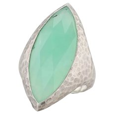 New Nina Nguyen Green Chrysoprase Ring Mekong Sterling Silver Hammered Size 7