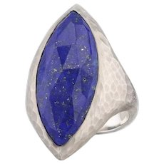 New Nina Nguyen Blue Lapis Lazuli Ring Mekong Sterling Silver Hammered Size 7.25