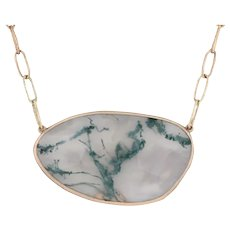 New Nina Nguyen Moss Agate Pendant Necklace Green Lace 18k Gold 19""