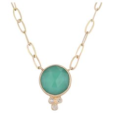 "New Nina Nguyen Chloe Pendant Necklace Green Chrysoprase Diamond 18k Gold 17"""