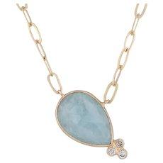 """New Nina Nguyen Lily Gold Pendant Necklace Druzy Aquamarine Diamond 18k Gold 17"""""""