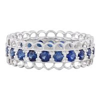 New Beverley K Blue Sapphire Eternity Ring 14k White Gold SZ 5.75 Stackable Band