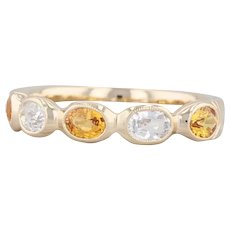 Beverley K 1.1ctw White Orange Sapphire Stackable Ring 14k Yellow Gold Size 6.5