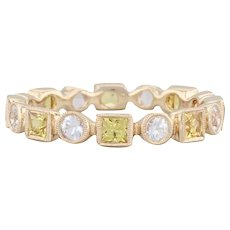 Beverley K 1.41ctw White Yellow Sapphire Stackable Ring 14k Gold 6.5 Eternity