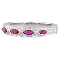 New Beverley K 0.45ctw Ruby Diamond Stackable Ring 18k White Gold Band Size 6.5