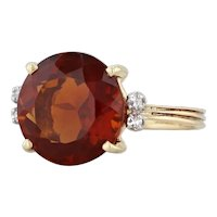 Madeira Citrine Diamond 5.03ctw Ring 18k Yellow Gold Size 7.25 Dark Orange