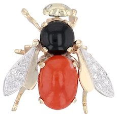Flying Insect Pin Diamond Coral Onyx Chalcedony 14k Yellow Gold Bug Brooch