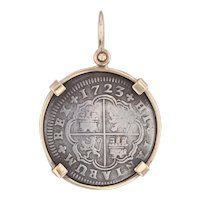 1723 Spanish Coin Pendant 10k Gold Silver 2 Reales Madrid