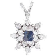 0.48ctw Blue Sapphire Diamond Pendant 14k White Gold Flower Snowflake