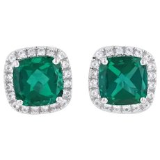 New Synthetic Emerald Synthetic White Sapphire Halo Stud Earrings 14k White Gold