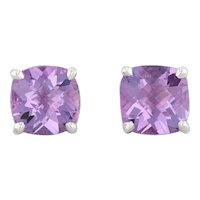 Tiffany & Co Sparklers Amethyst 4ctw Stud Earrings Sterling Silver Solitaires