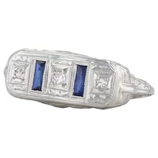 Art Deco Blue Synthetic Sapphire Diamond Ring 18k White Gold Size 5.5 Filigree