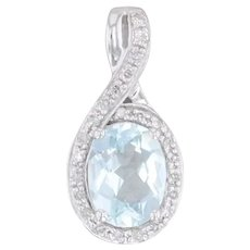1.06ctw Aquamarine Diamond Halo Teardrop Pendant 14k White Gold Oval Solitaire