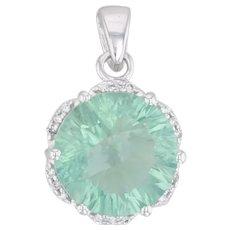 7.36ctw Green Fluorite Diamond Halo Drop Pendant 14k White Gold Round Solitaire