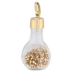Glass Beaker Pendant 18k Yellow Gold Gold Flecks Charm