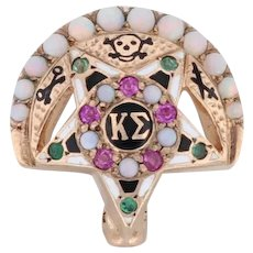 Kappa Sigma Fraternity Badge 10k Gold Pearl Ruby Opal Emerald Greek Crescent Pin