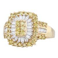 New 1ctw Fancy Yellow White Diamond Halo Ring 14k Yellow Gold Size 8