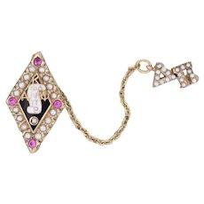 Kappa Alpha Psi Badge 10k Gold Diamond Pearls Synthetic Rubies Fraternity Pin