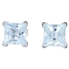 1.90ctw Aquamarine Stud Earrings 14k Gold Princess Solitaire March Birthstone
