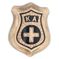 Vintage Kappa Alpha Order Small Badge 14k Gold Fraternity Mini Pin