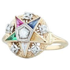 Jabel Order of the Eastern Star Ring 14k Gold Size 6.5 Diamond OES Masonic
