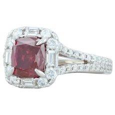 3.27ctw GIA Fancy Red Diamond Halo Ring 18k Gold Size 6.5 Rare Cushion Custom