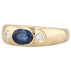 1.07ctw Sapphire Diamond Ring 18k Yellow Gold Size 7.75 Gemstone Band