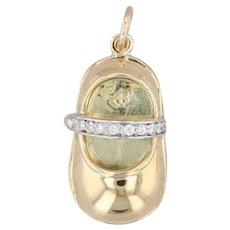 Aaron Basha Diamond Baby Shoe Pendant 18k Yellow Gold Charm