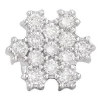 Single 0.19ctw Diamond Snowflake Earring 18k White Gold Pierced Stud
