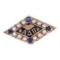 Alpha Delta Pi Badge 10k Gold Pearls Sapphire Sorority Pin Greek Society